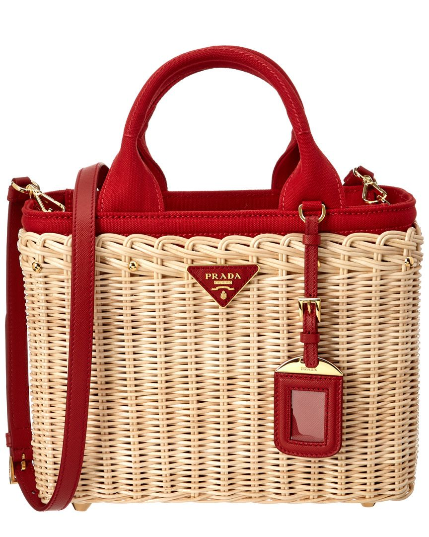 6c5578651c8b0f Prada Prada Wicker & Canvas Tote is on Rue. Shop it now. | Bags ...