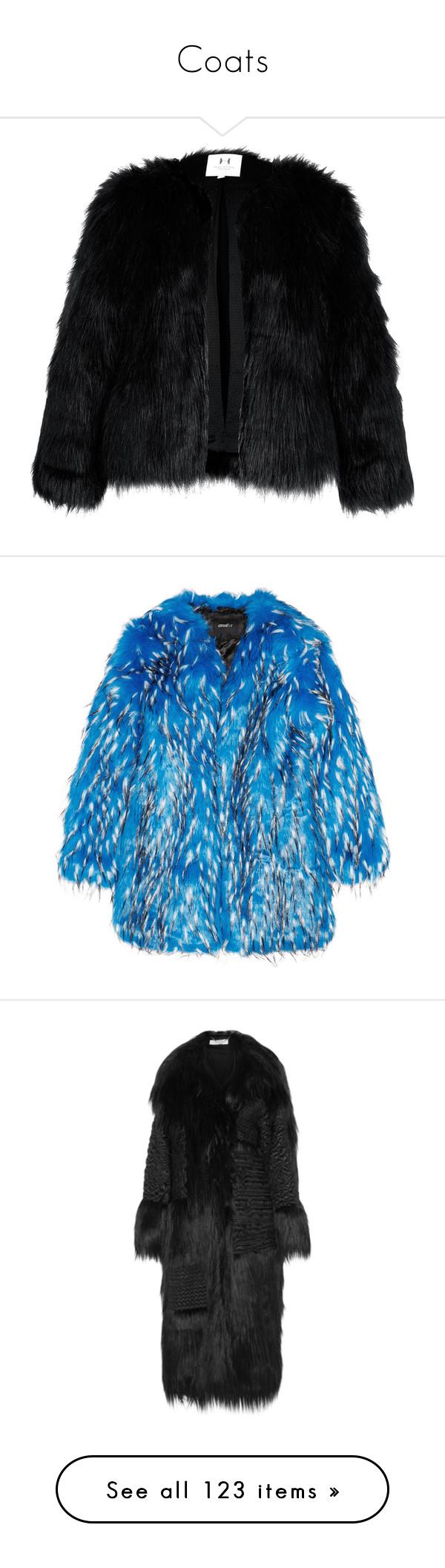 """Coats"" by deborahsauveur ❤ liked on Polyvore featuring outerwear, coats, jackets, fur, women, women's tops, womenswear, black coat, halston heritage coat and fur coat"