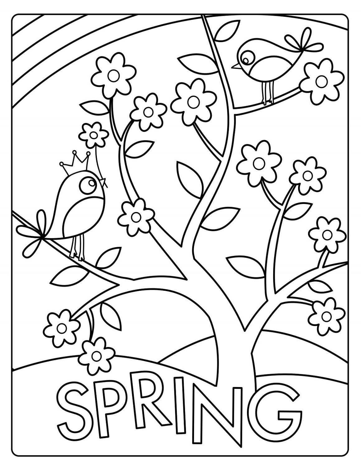 spring coloring pictures kids