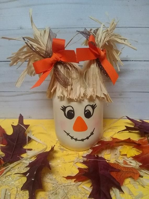 Autumn Gifts, Scarecrow Mason Jar, Fall Decor, Fall Desk Decor, Scarecrow, Fall Party, Halloween Decor, Fall Mason Jars #fallcrafts