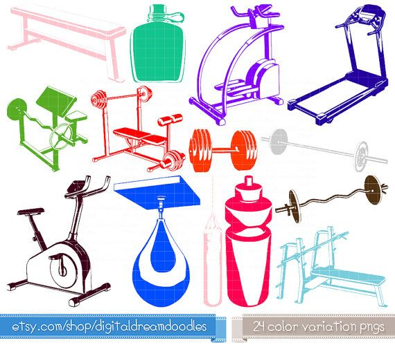 Fitness Clipart Exercise Clip Art Gym Graphic Set Health
