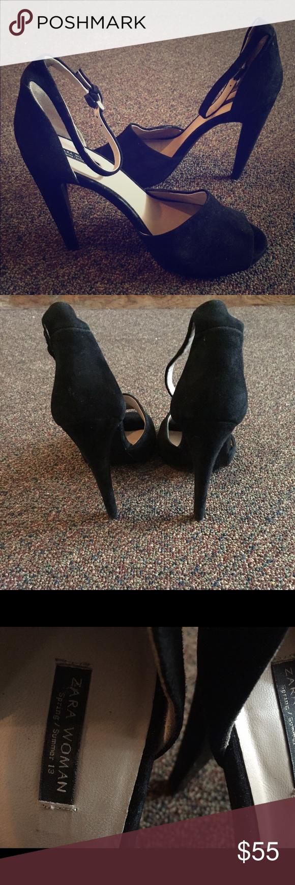 ZARA Black suede peep toe heel Black suede peep toe heel with ankle strap buckle Zara Shoes Heels