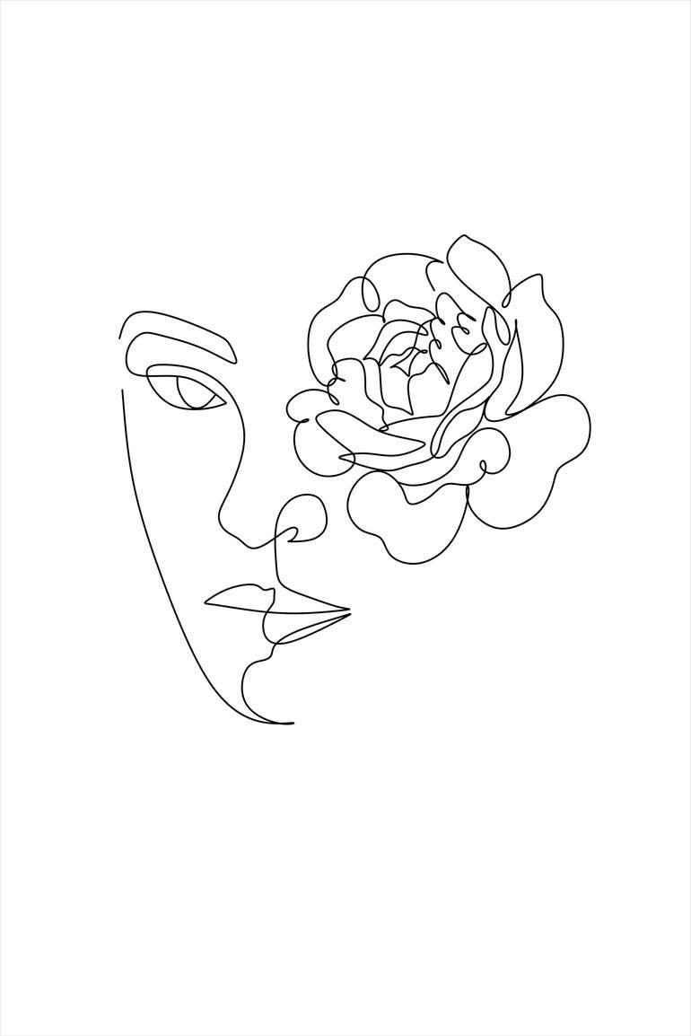 Woman with peony Art Print