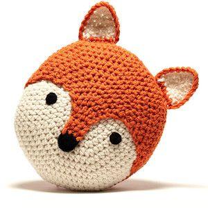 Peanut Butter Dynamite Crochet Acrylic Fox Pillow