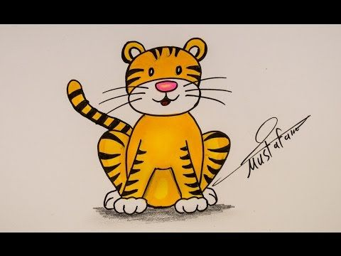 How To Drawing Tiger For Kids Drawing For Kids Tiger Kids Drawings