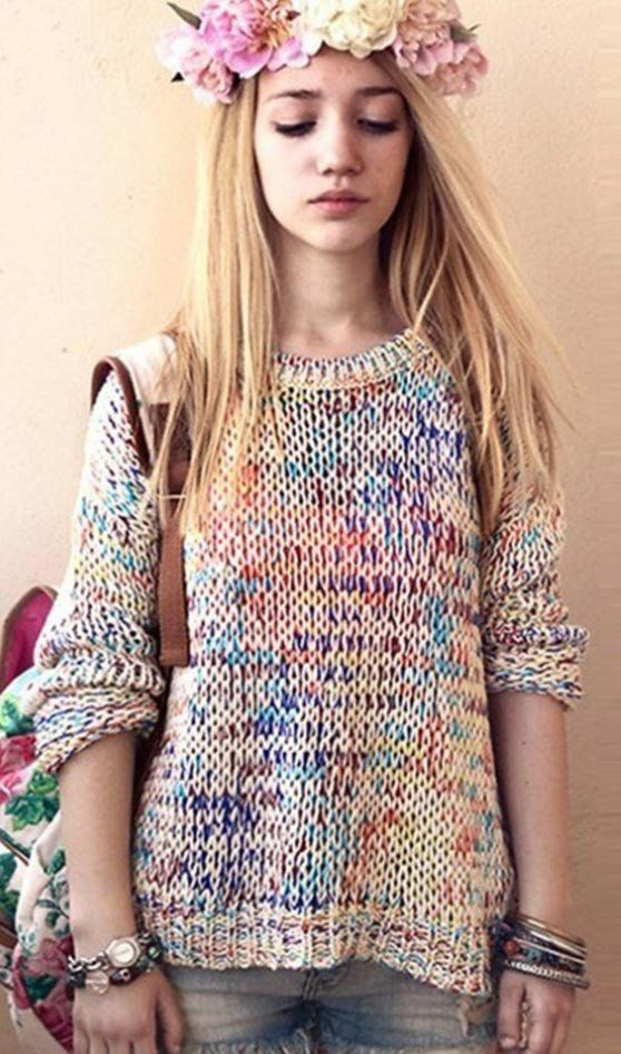Rainbow Colorful Tie Dye Knit Sweater Rainbows