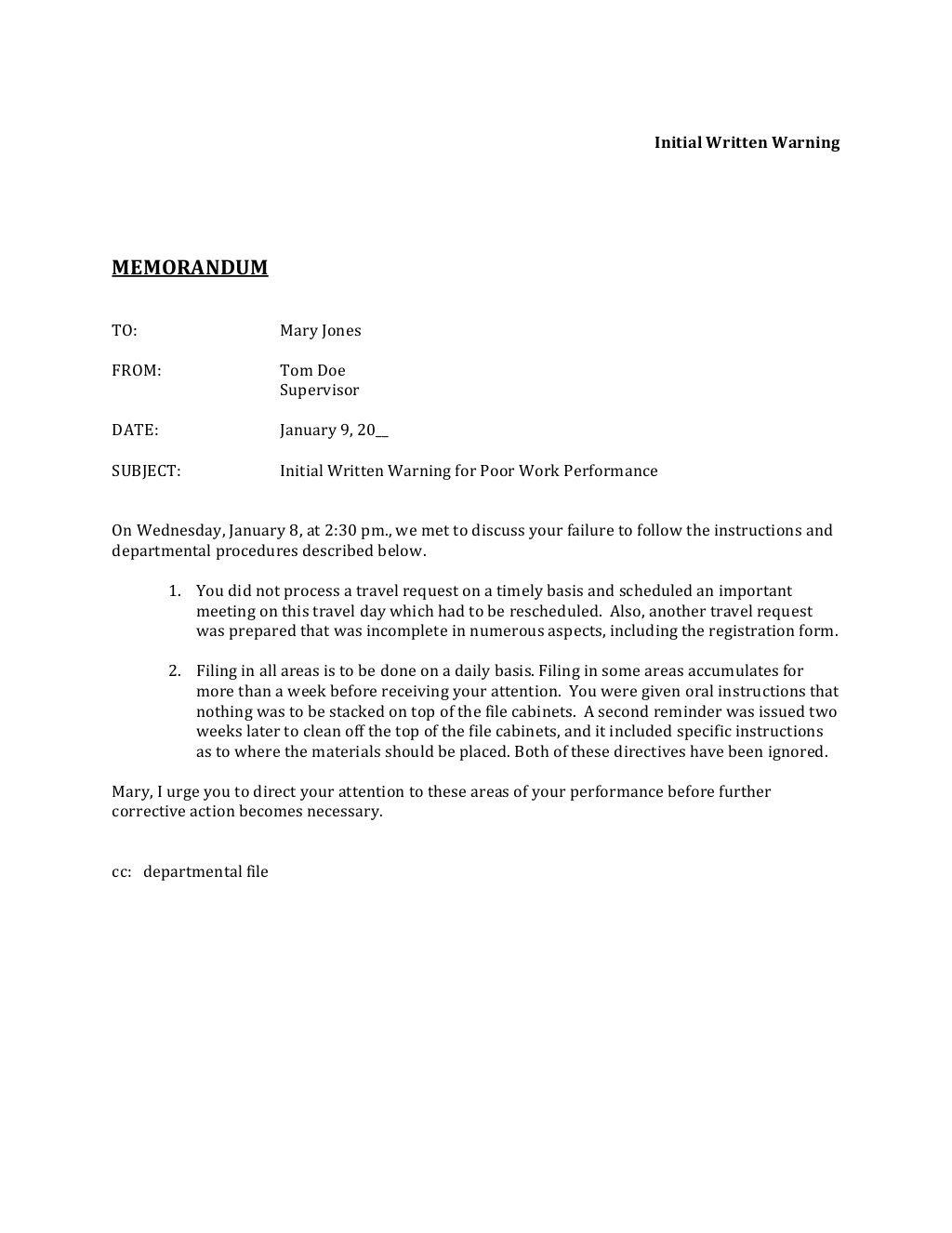 Initial Written Warning Memorandum To Mary Jones From Tom Doe Supervisor Cover Letter For Resume Memorandum Letters Legal memo to file template