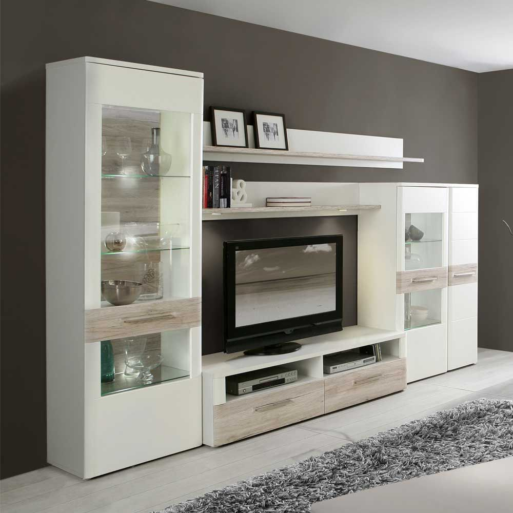 Anbauwand In Weiß Eiche Dekor Beleuchtung (5 Teilig) Wohnzimmerschrank, Schrankwand,wohnwand