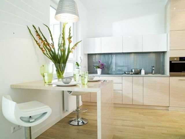 gestaltung kleine küche ideen helles holz optik schrankfronten ...