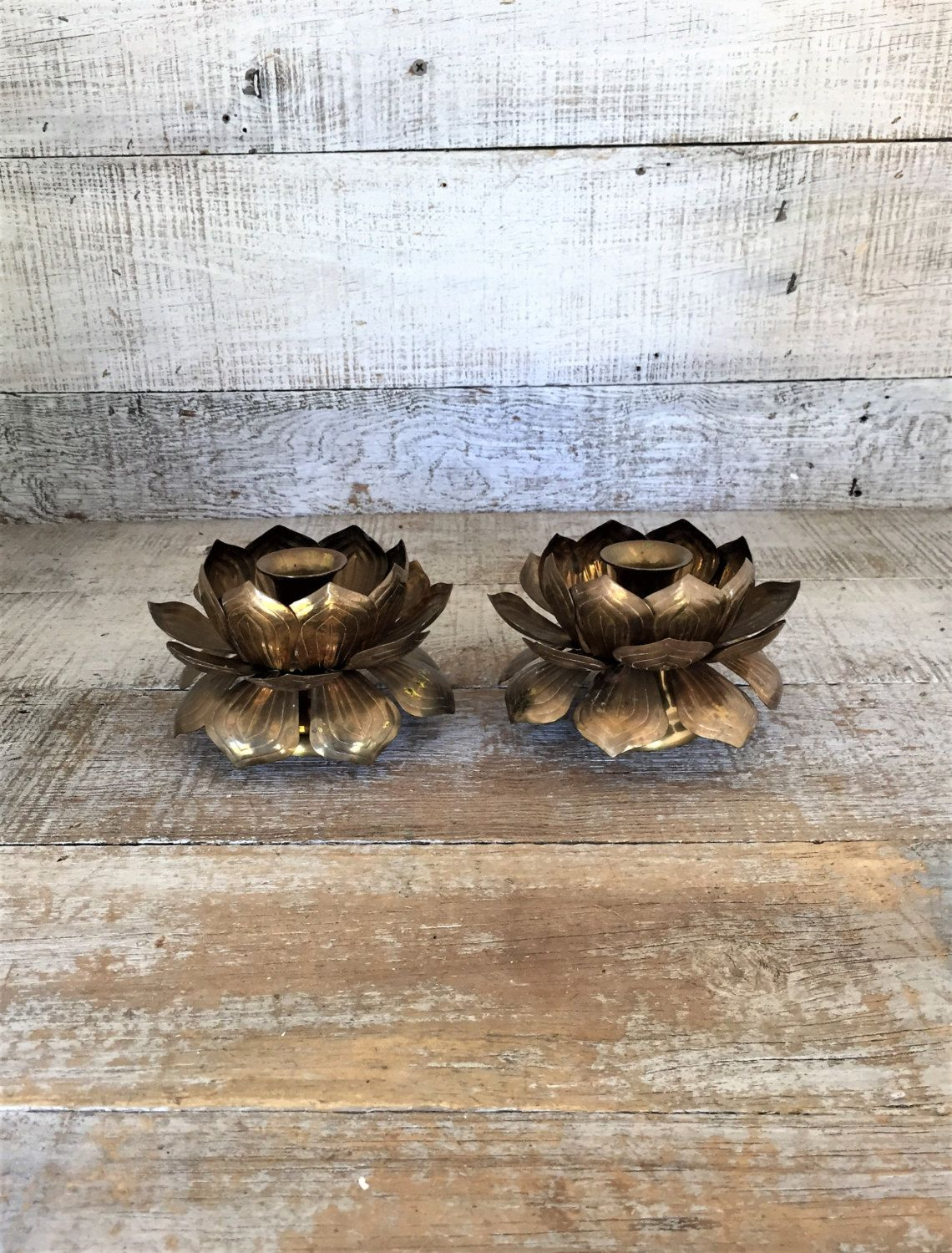 Brass Candlestick Holders Lotus Flower Candlestick Holders Mid Century Candleholder Matching Brass Candlesticks Holders Brass Lotus Flower by TheDustyOldShack on Etsy
