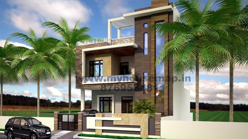 gallary house map elevation exterior house design 3d house map in - Home Design In India