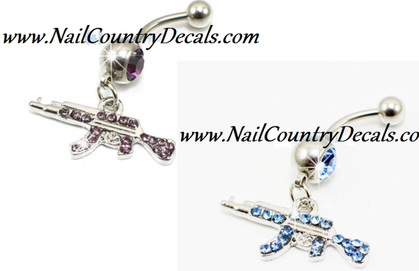 Purple Or Blue Bad Ass Ak 47 Belly Ring Navel Ring Body Jewelry 316l