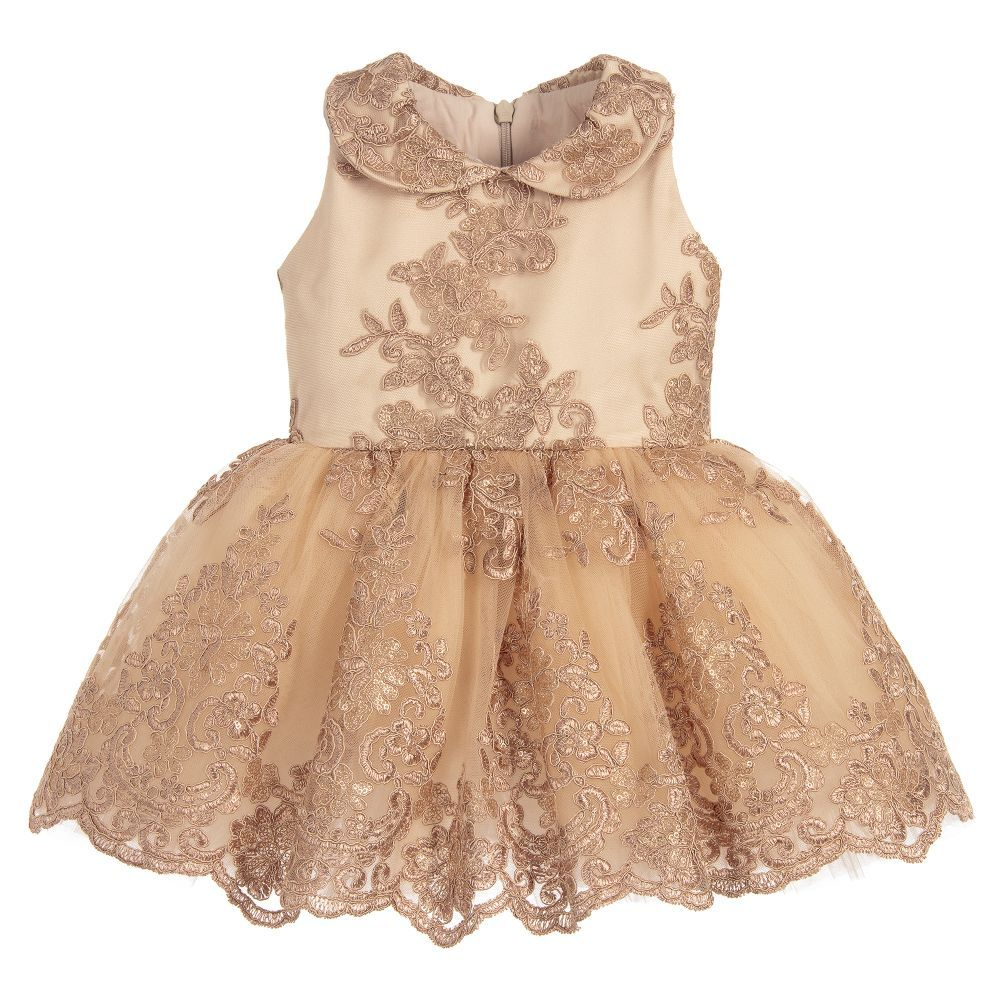 1ff405743 Baby Girls Gold Lace Dress Set