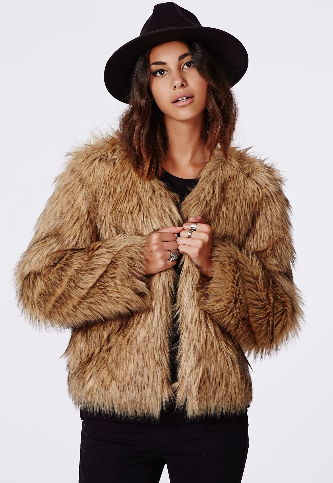Belle Faux Fur Cropped Jacket Brown - Coats And Jackets ...