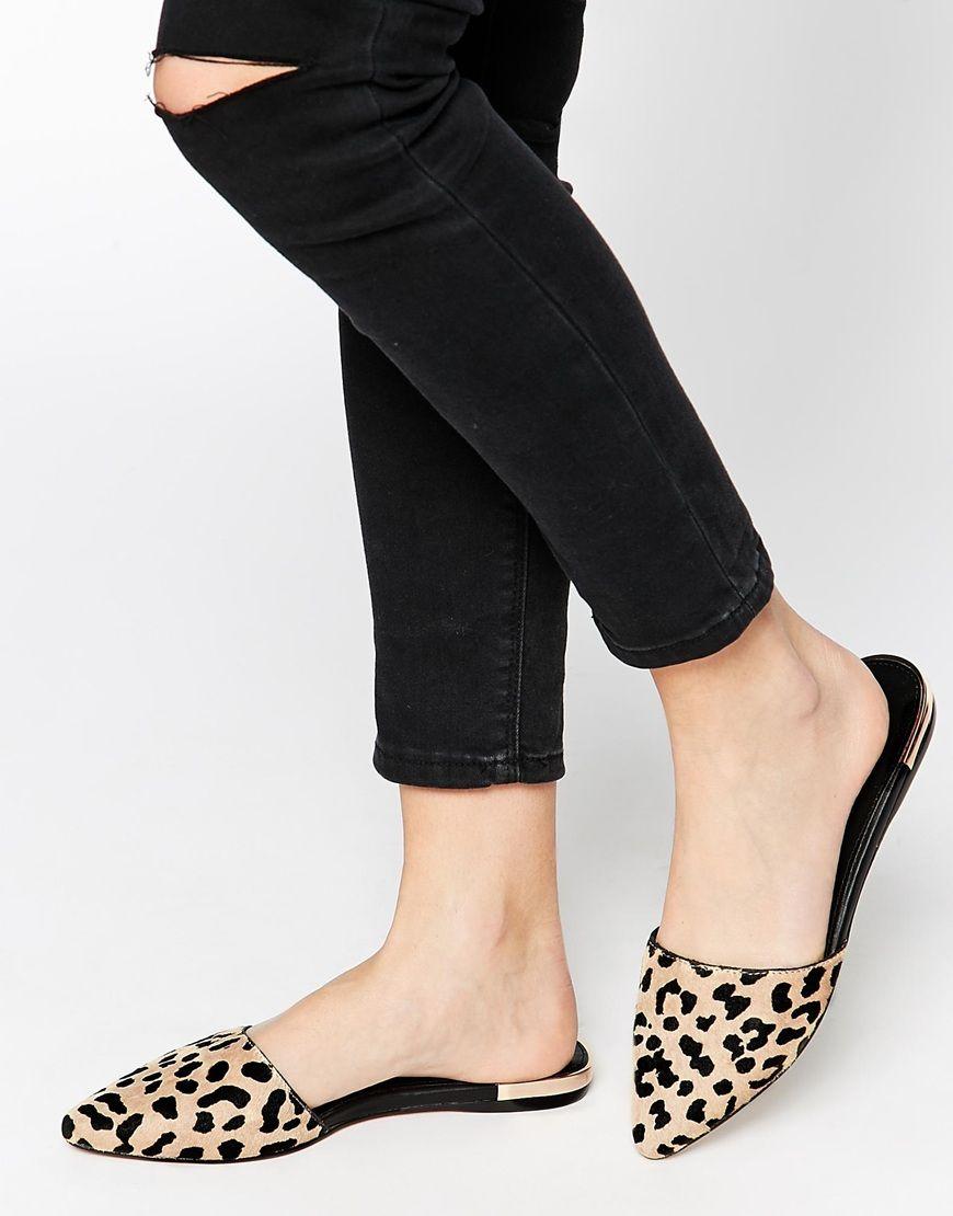 ALDO Luma Leopard Pointed Flat Mule Shoes at asos.com