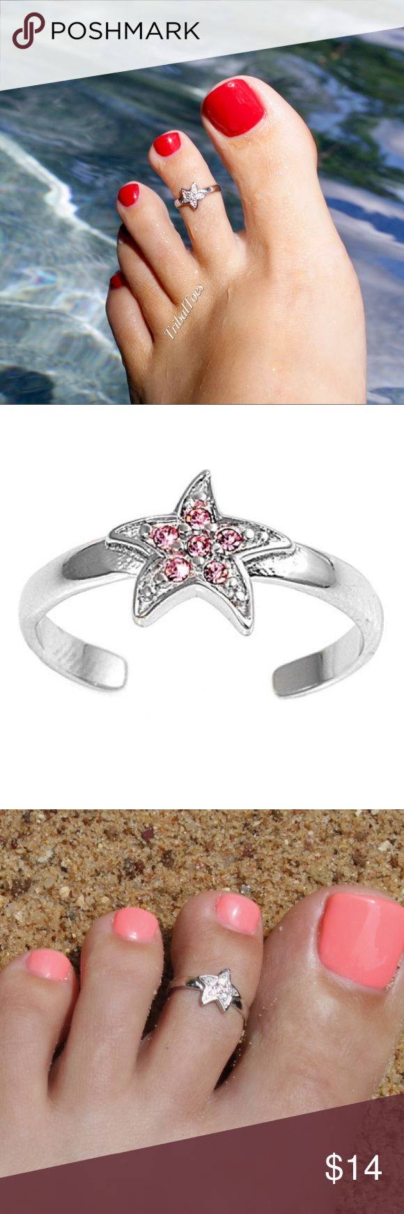 Star Pink Simulated CZ .925 Sterling Silver Toe Ring