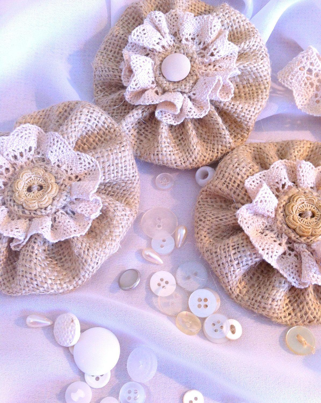 Hair flower clip burlap with lace via etsy converse