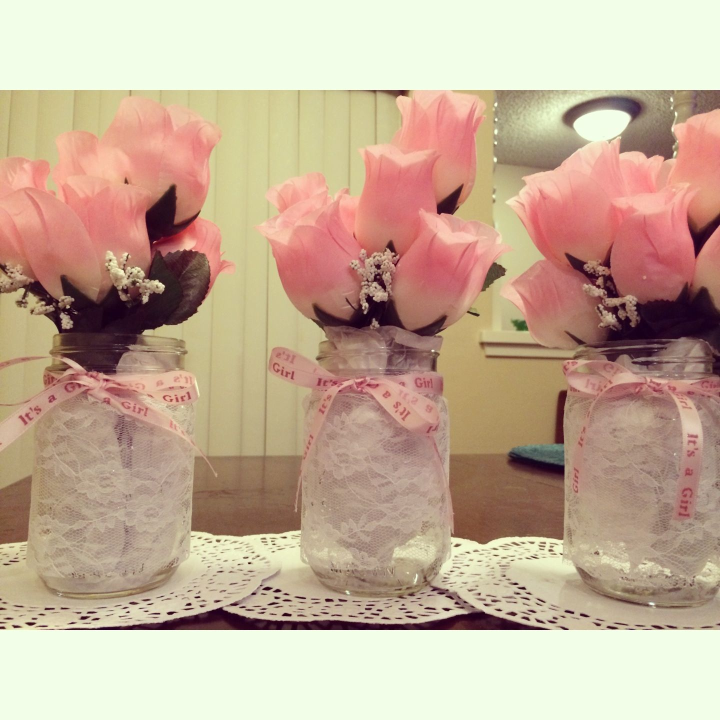 Lace Mason Jars For Baby Shower Center Pieces