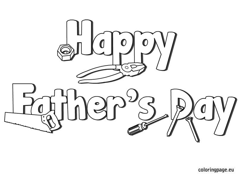 Happy Father S Day Tools Coloring Page Fathers Day Cards Happy Father Fathers Day Coloring Page