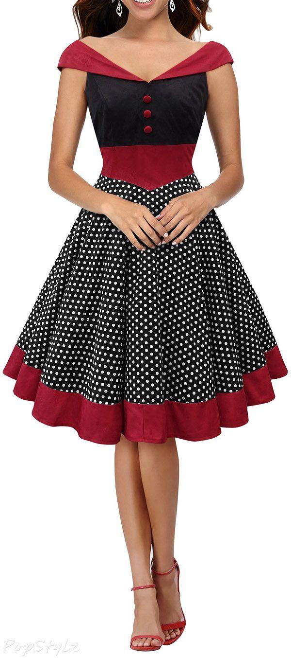Black Butterfly  Sylvia  Vintage Polka Dot Pin-up Dress  cac0a6851ec8