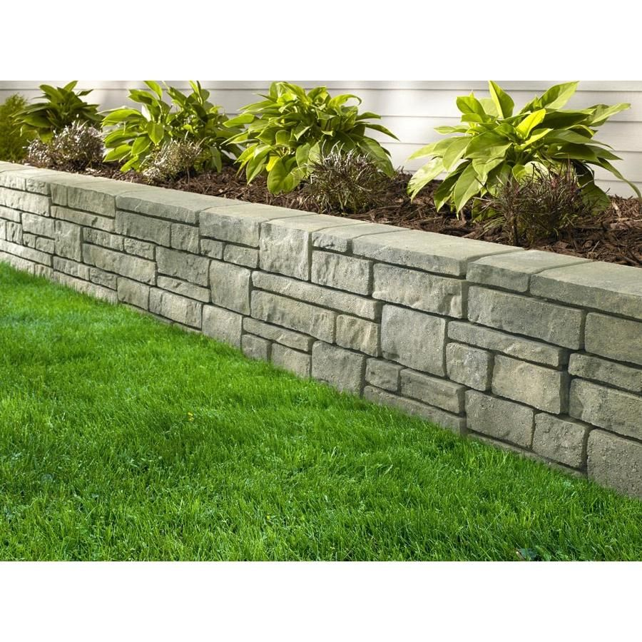 Oldcastle Townsend Tan Charcoal Retaining Wall Block Common 4 In X 16 In Actual 4 In X 16 In Lowes Com Retaining Wall Block Front Yard Landscaping Front Yard Landscaping Design