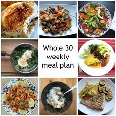 A solid weekly meal plan for Whole 30 (with links to recipes). Includes potatoes per new Whole 30 rules. Not all the breakfasts include eggs - yea!