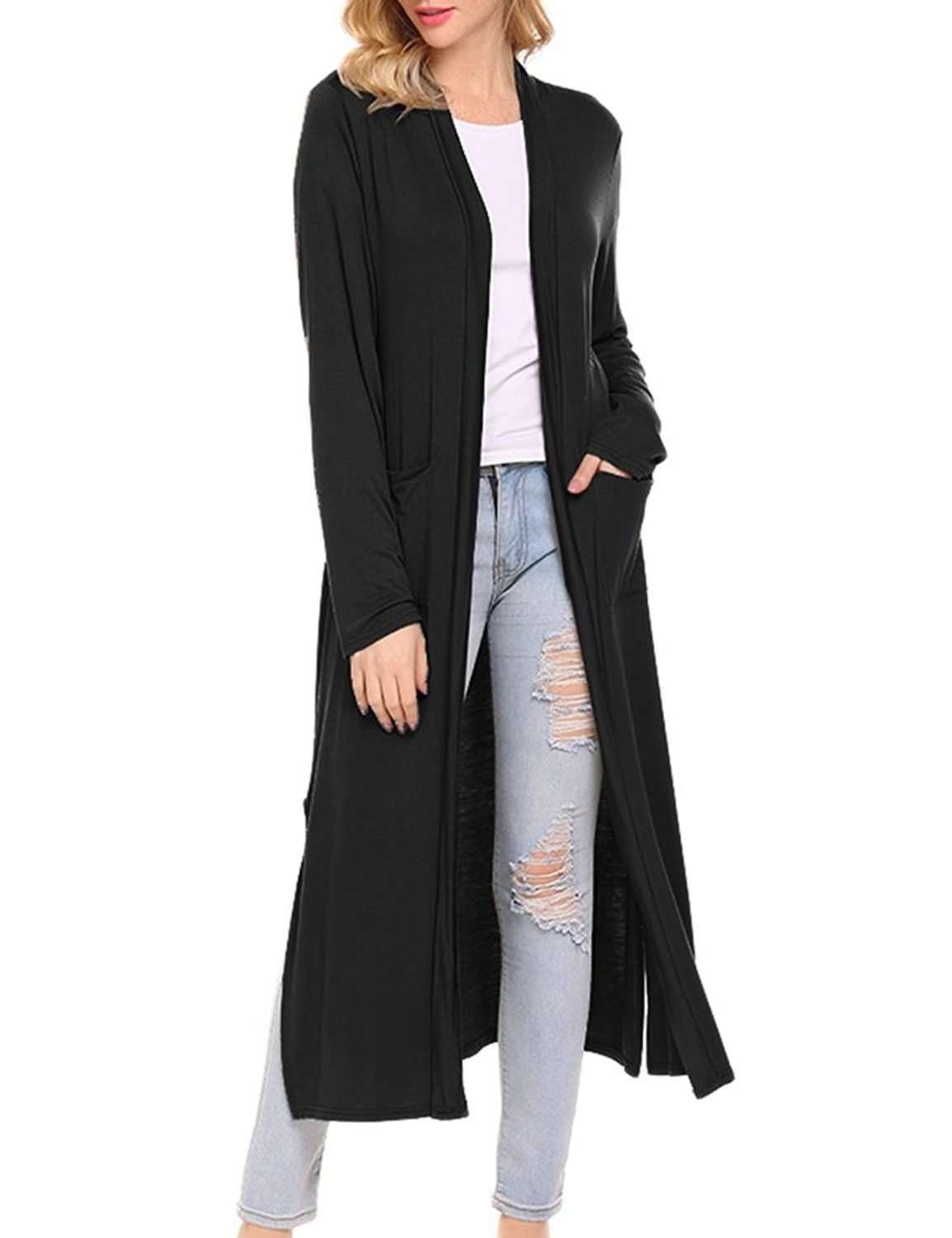 649688e2821214 Women's Soft Knit Longline Open Front Duster Cardigan With Side Pockets -  Black - C2189NGYSDL,Women's Clothing, Sweaters, Cardigans #women #fashion  ...