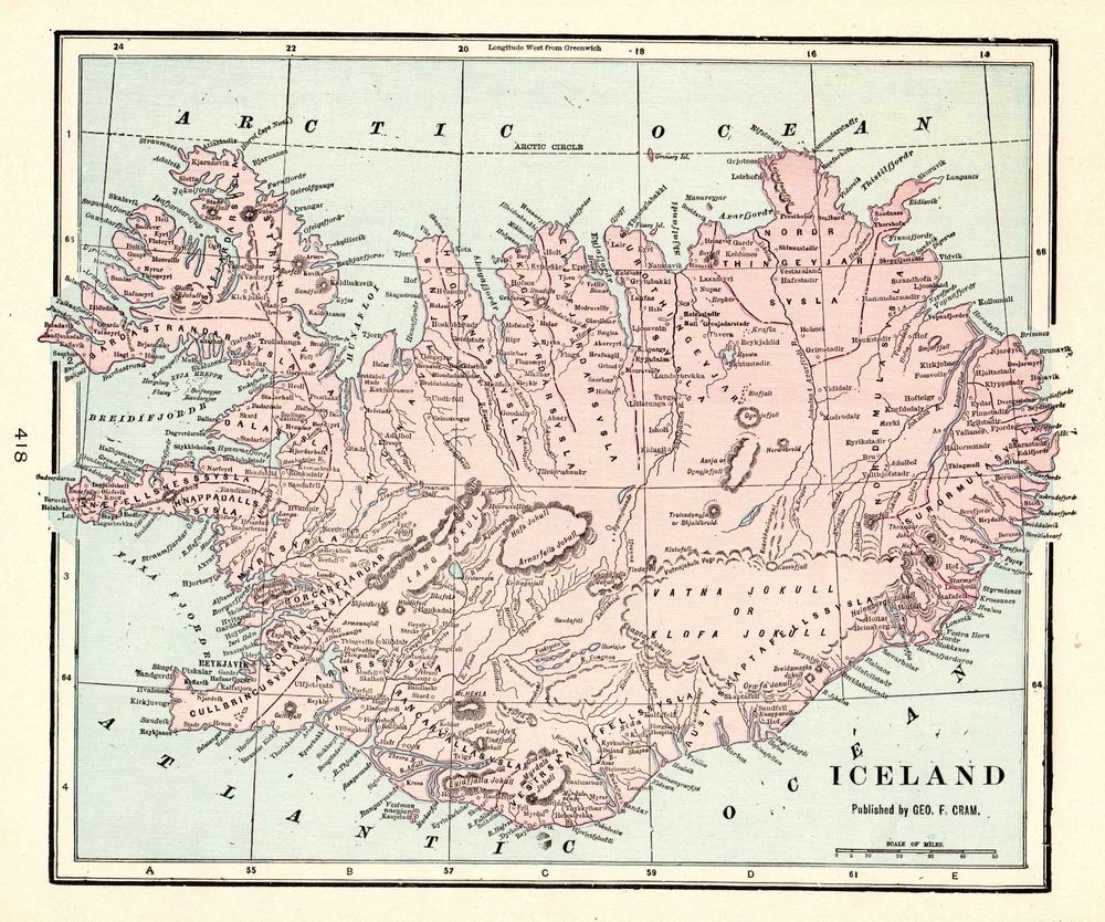 1905 Antique ICELAND Map Vintage Map of Iceland Home Decor