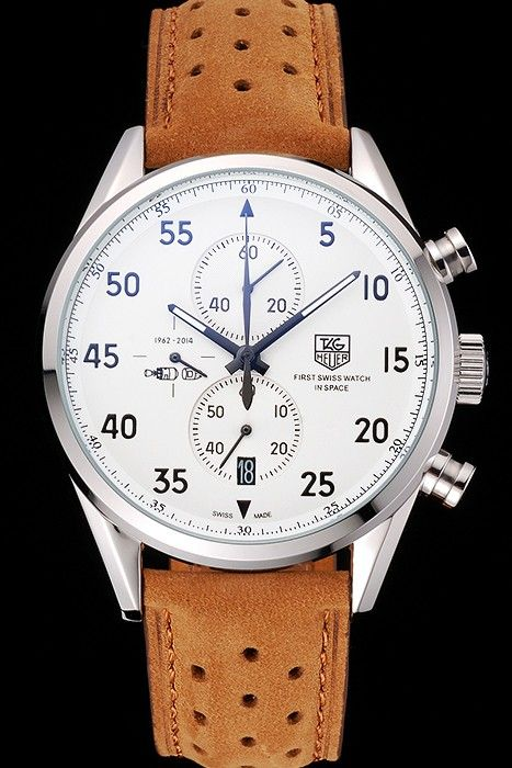 Tag Heuer Carrera SpaceX-7 White Dial Silver Stainless Steel Case Brown  Suede Strap Relógios 6232ae44e4