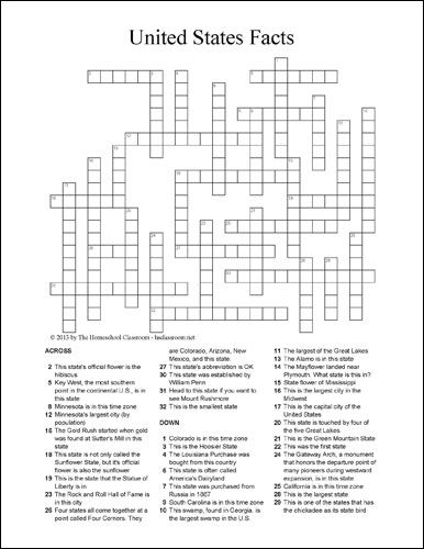 US State Facts Crossword Puzzle  Free Social Studies and Geography Printable  Social Studies