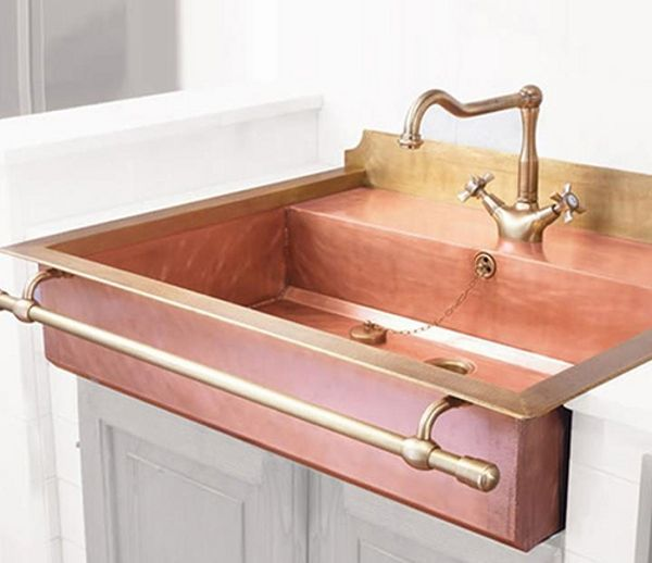 Messing Spülen mit Handtuchhalter und dekorativem Wasserhahn - handtuchhalter für küche
