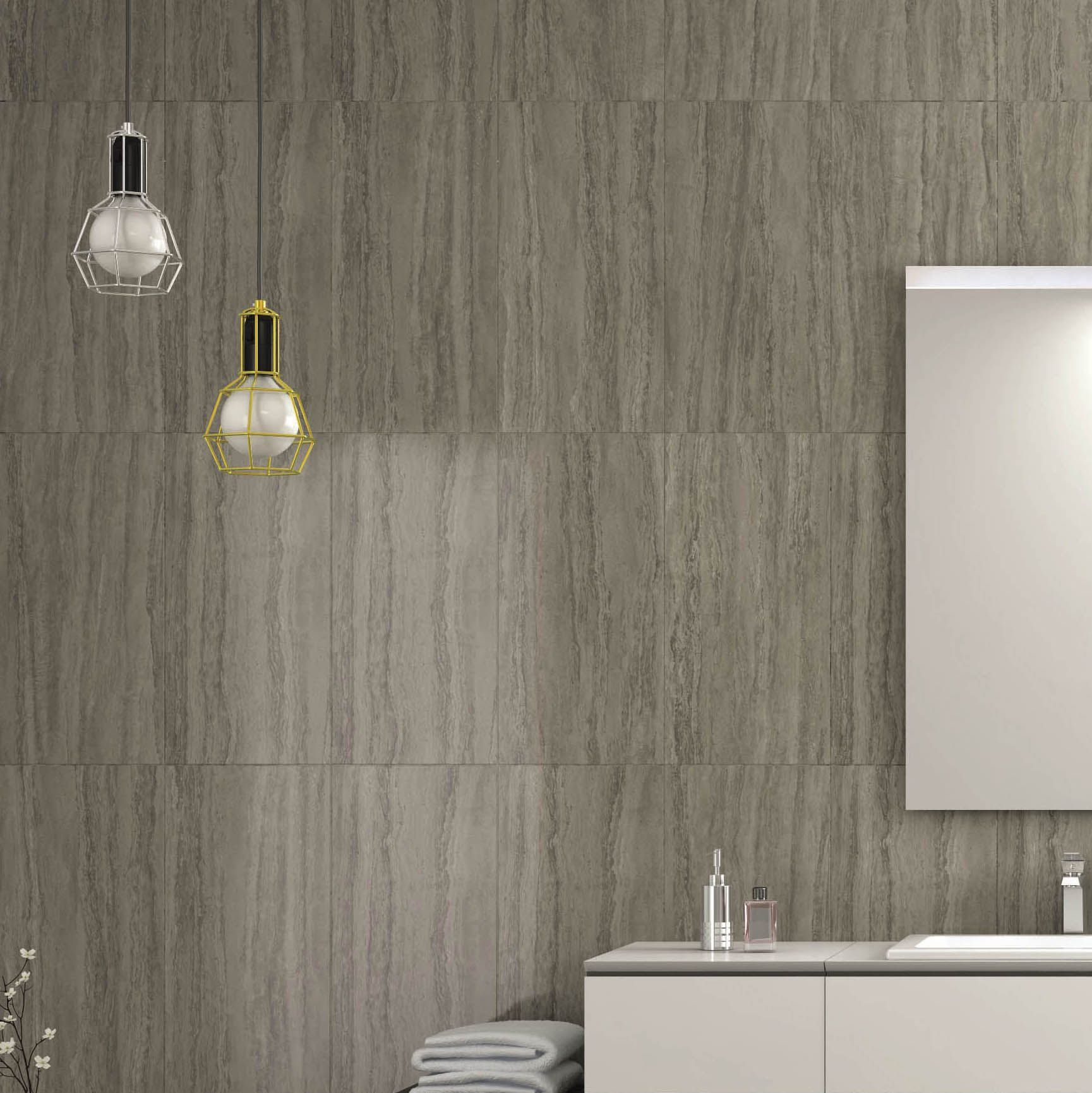 Perouso White Gloss Ceramic Wall Tile Pack Of 6 L 600mm: Anatolia Mink Stone Effect Plain Porcelain Wall & Floor