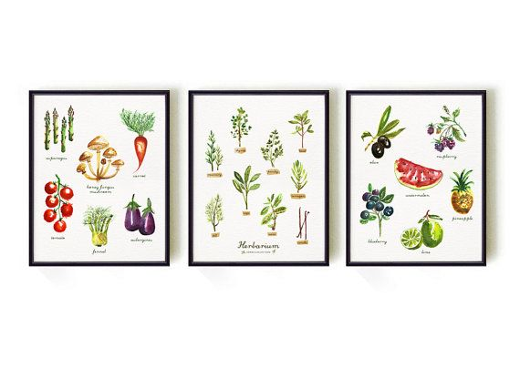 Vegetable Watercolor Painting Herb Print Fruit Print Kitchen