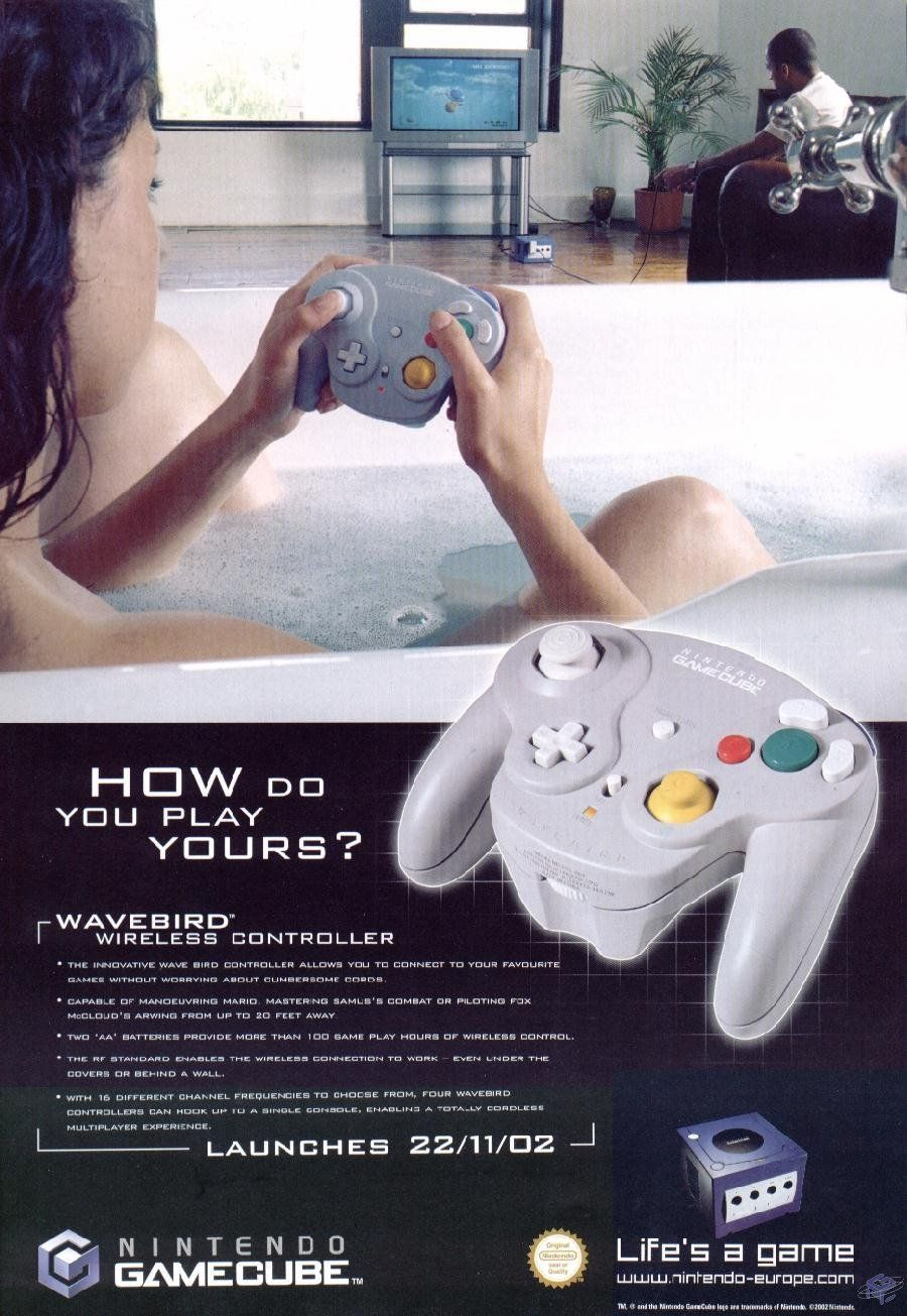 Legendofnes Gamecube Wireless Controller Ad Wavebird About A Foot And You Can Repurpose Those Wires Within The Controllermisc Uk Magazine 2002