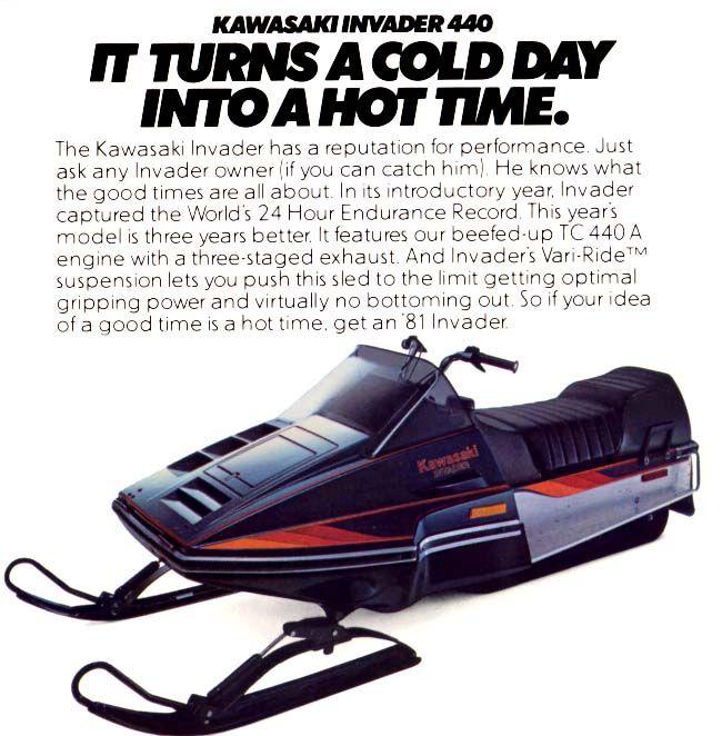 Kawasaki Invader Vintage Sled Snowmobile Snow Vehicles