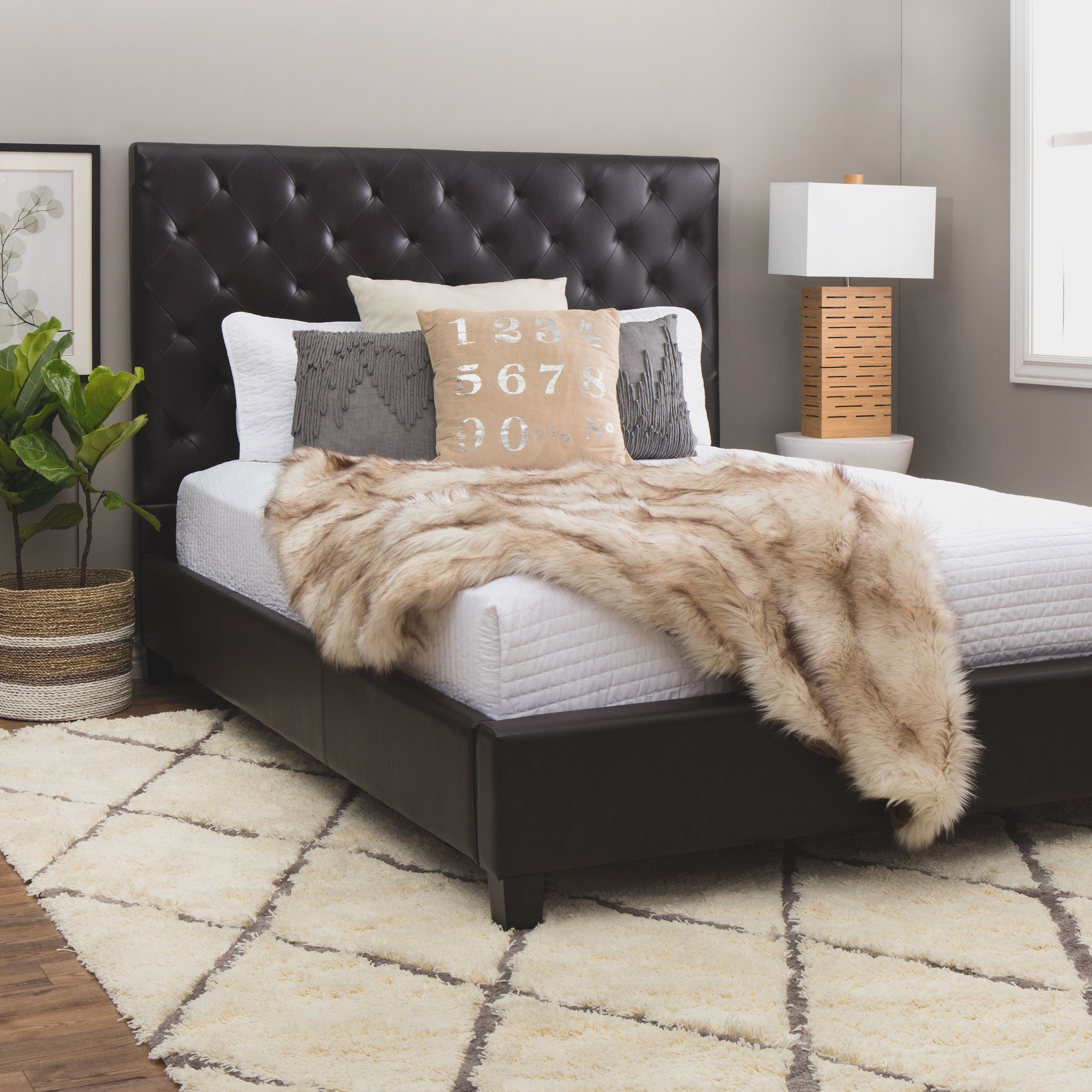 Your Inner Interior Decorator Will Love The Elegant Features The Sophie Dark Brown Leather Queen Plat Brown Bed Frame Leather Headboard Bedroom Leather Bedroom