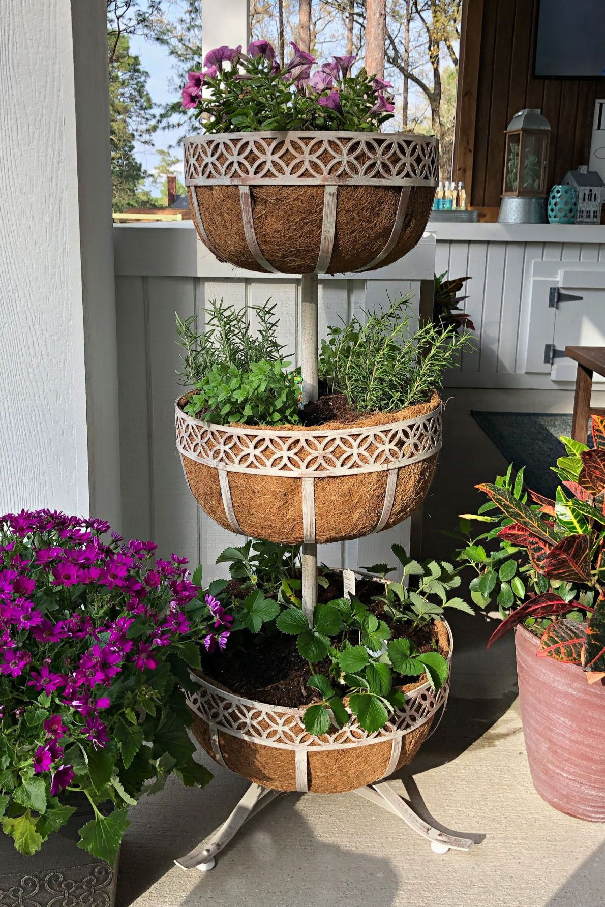 Patio Garden Tiered Planter Planters Plant Stands Outdoor
