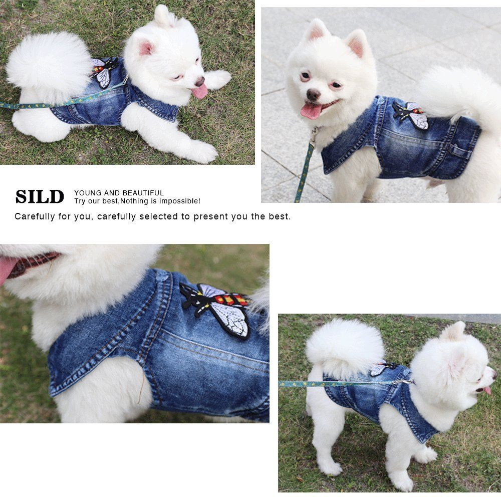 Sild Pet Clothes Dog Jeans Jacket Cool Blue Denim Coat Small Medium Puppy Blue Vintage Washed Clothes Dogs Lapel Vests In 2020 Blue Denim Coat Dog Costumes Pet Clothes