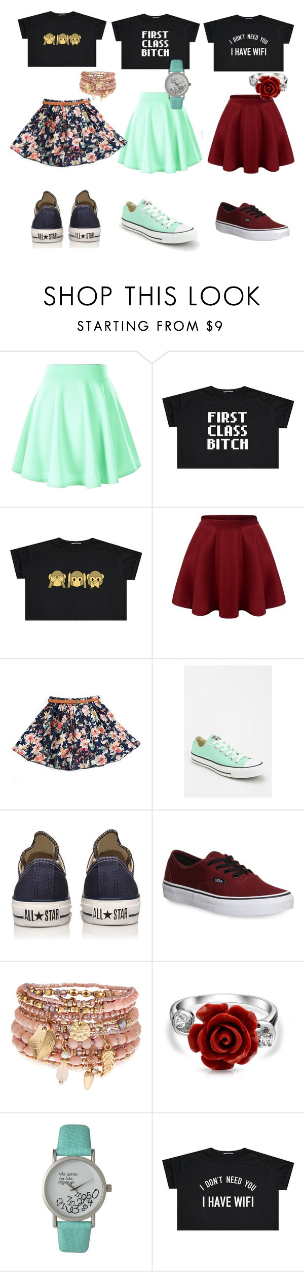 """""""1, 2, or 3✨"""" by polyvoretrendss ❤ liked on Polyvore featuring Converse, Vans, Accessorize, Bling Jewelry and Olivia Pratt"""