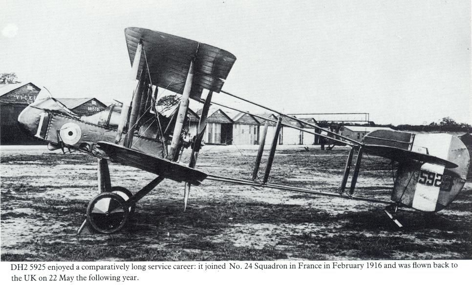 DH2 5925 enjoyed a comparatively long service career: it joined No.24 Squadron in France in February 1916 and was flown back to the UK on 22 May the following year