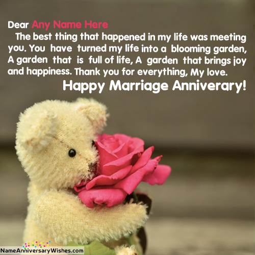Cute Teddy On Marriage Anniversary For You With Name