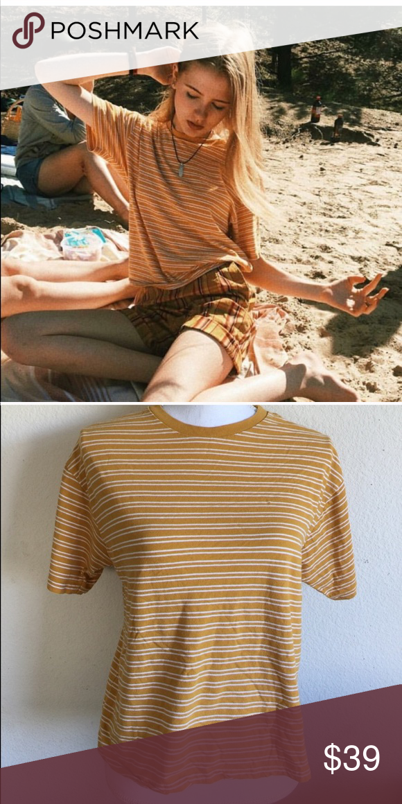 aad384f2816dd Brandy Melville yellow striped Aleena top NWT Brandy Melville Tops ...