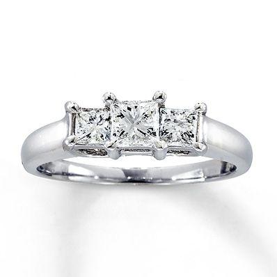 4980f2186 Three-Stone Diamond Ring 1 ct tw Princess-cut 14K White Gold This was my  original Wedding ring