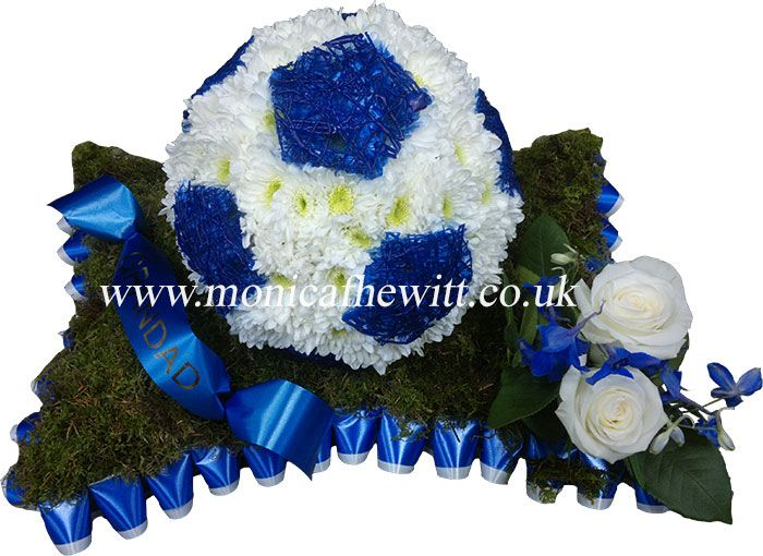 Swfc Blue White Football Bespoke Funeral Flowers And Tribute Art By Monica F Hewitt Florist Shef Funeral Flowers Funeral Floral Arrangements Funeral Tributes