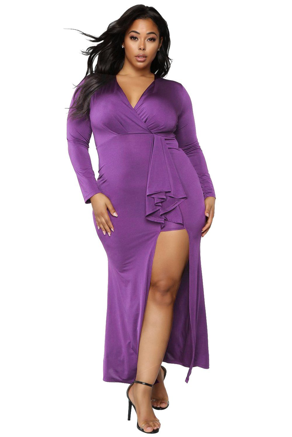 0e76b6ed Purple Surplice Long Sleeve Plus Size Dress | Products | Pinterest ...