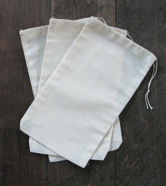Cotton Muslin Black Hem and Black Drawstring Bags 25 5x7
