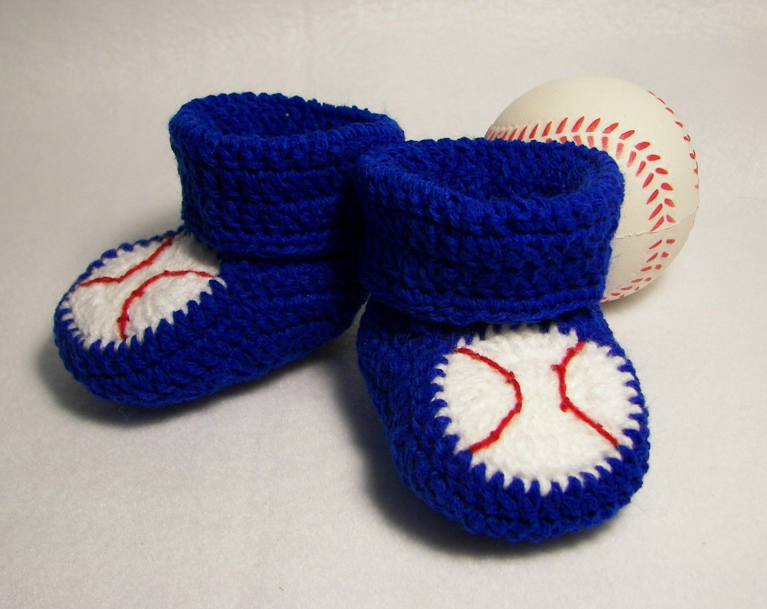 Baby Booties, Baseball NB to 6 Months or 6 to 12 Months Finely ...