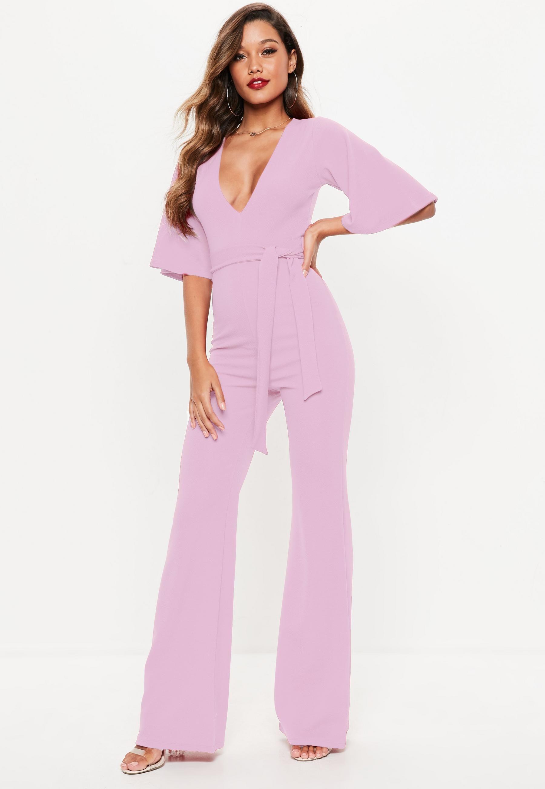 34e58c63fa7 Lilac Plunge Kimono Sleeve Jumpsuit