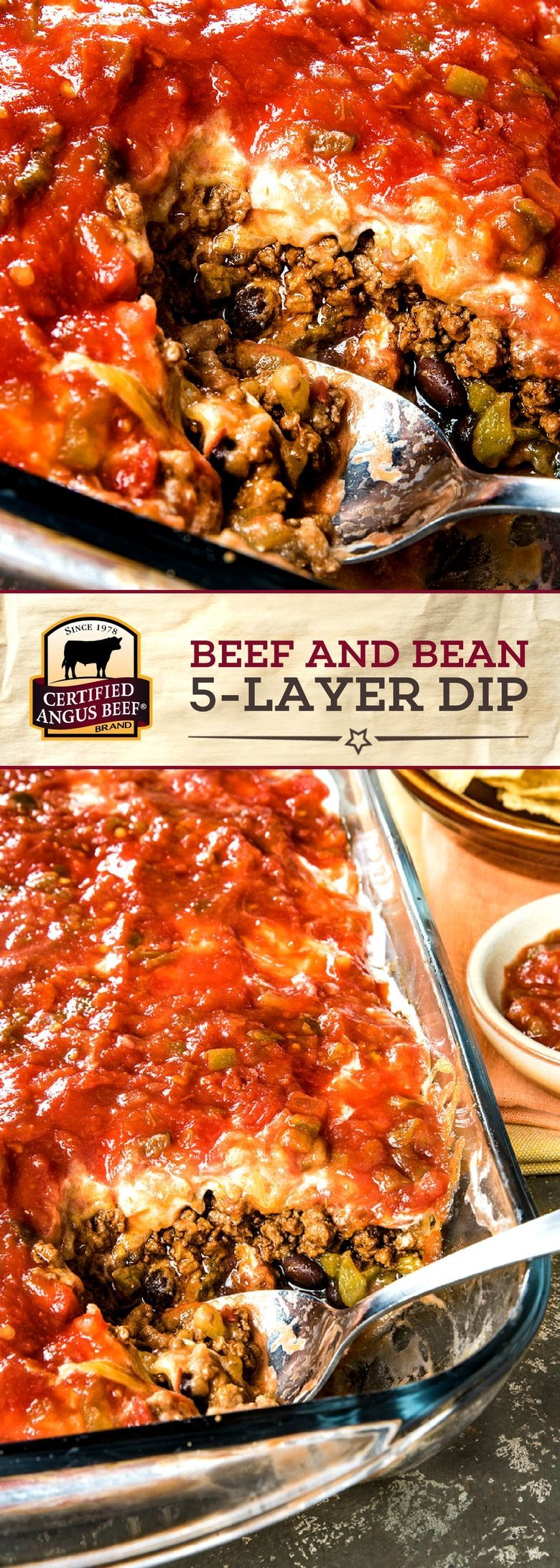 Beef And Bean 5 Layer Dip Is So Easy To Make And Perfect For Family Dinner Or A Party Made With Certified A Best Beef Recipes Beef Recipes Ground Beef Recipes
