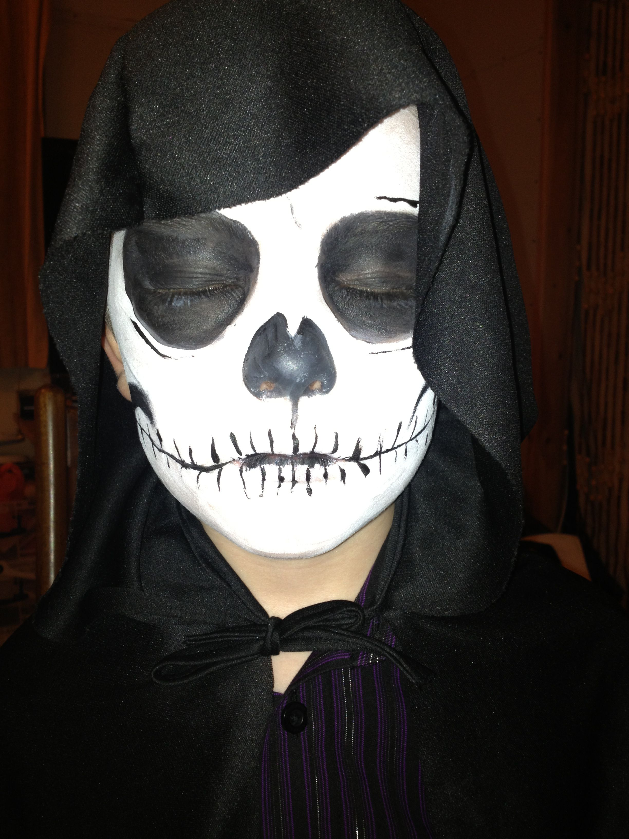 Cody As The Grim Reaper Halloween 2013 Face Painting Halloween Grim Reaper Halloween Halloween